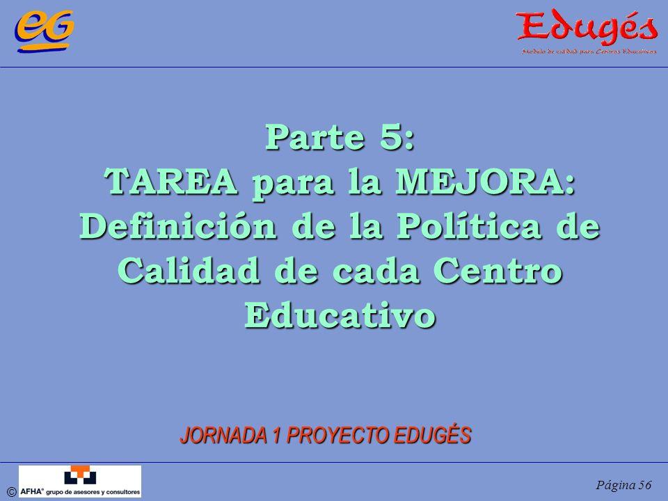 © Página 56 Parte 5: TAREA para la MEJORA: Definición de la Política de Calidad de cada Centro Educativo JORNADA 1 PROYECTO EDUGÉS