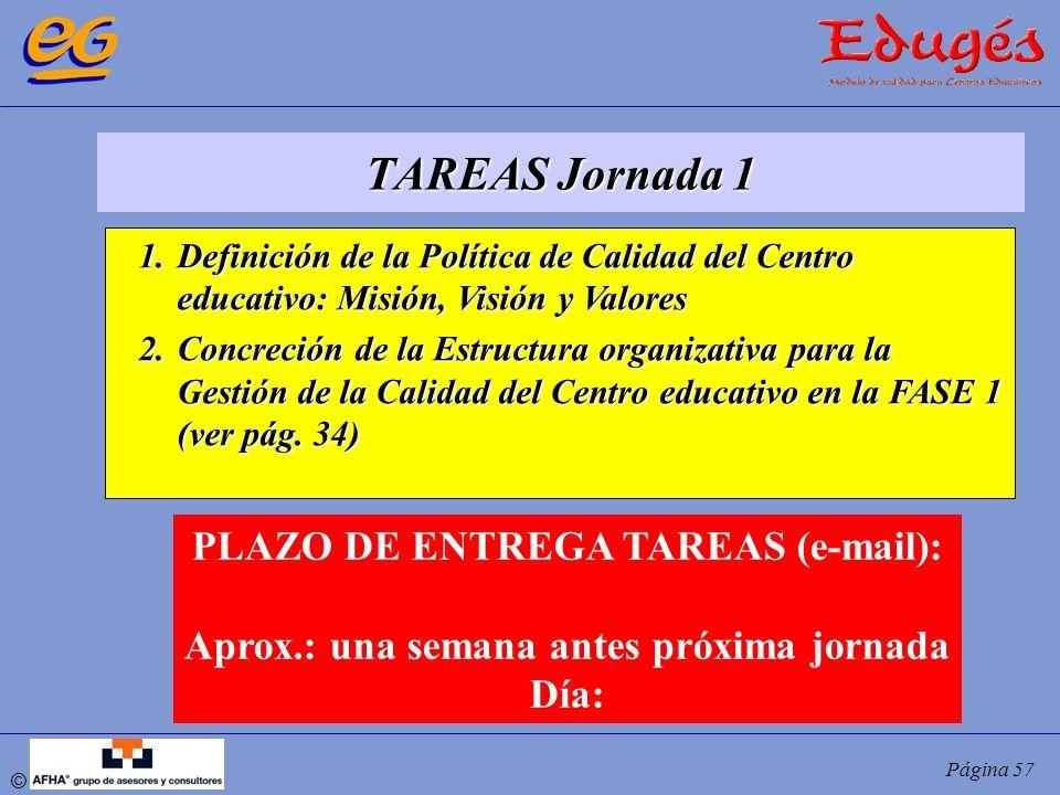 © Página 57 TAREAS Jornada 1 1.Definición de la Política de Calidad del Centro educativo: Misión, Visión y Valores 2.Concreción de la Estructura organ