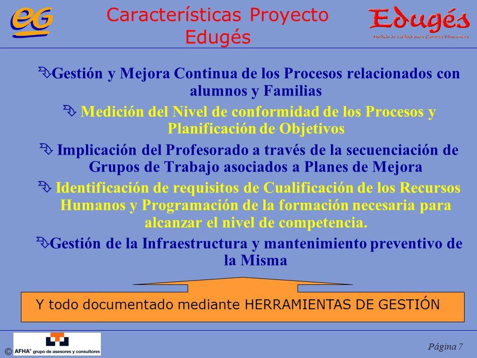 © Página 7 Características Proyecto Edugés ÊGestión y Mejora Continua de los Procesos relacionados con alumnos y Familias Ê Medición del Nivel de conf