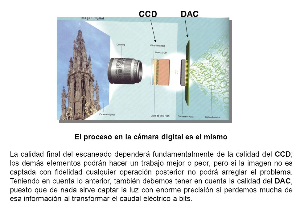El proceso en la cámara digital es el mismo La calidad final del escaneado dependerá fundamentalmente de la calidad del CCD; los demás elementos podrán hacer un trabajo mejor o peor, pero si la imagen no es captada con fidelidad cualquier operación posterior no podrá arreglar el problema.