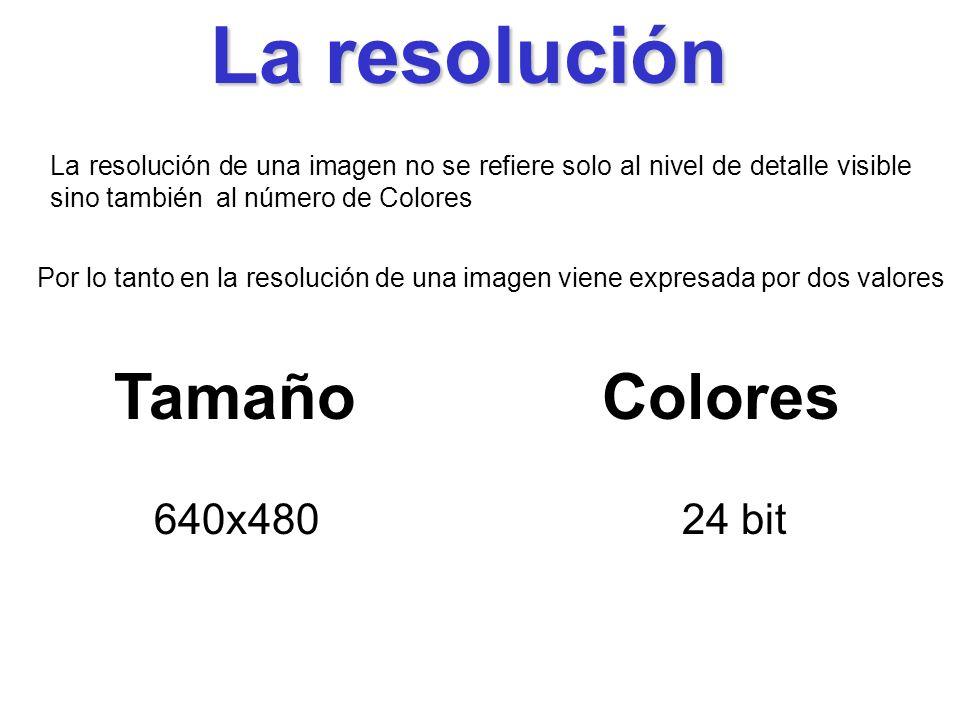 La resolución La resolución de una imagen no se refiere solo al nivel de detalle visible sino también al número de Colores Por lo tanto en la resolución de una imagen viene expresada por dos valores ColoresTamaño 640x48024 bit