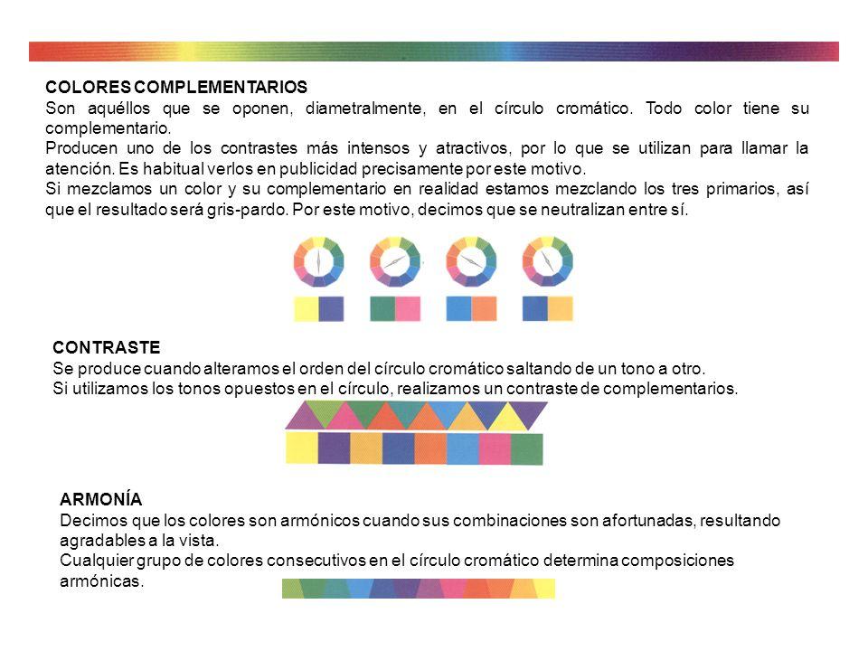 Colores terciarios (pardos). Son aquéllos obtenidos por la mezcla de los tres primarios al mismo tiempo. Según el primario predominante, obtendremos v