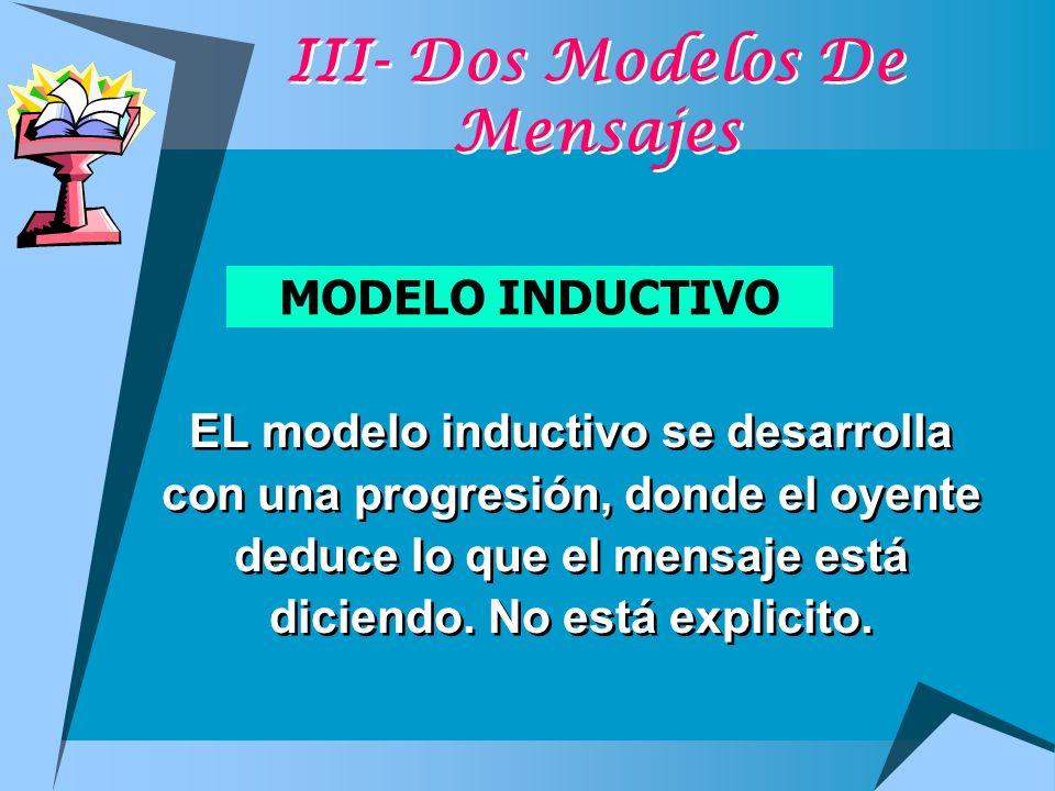 III- Dos Modelos De Mensajes MODELO INDUCTIVO EL modelo inductivo se desarrolla con una progresión, donde el oyente deduce lo que el mensaje está dici