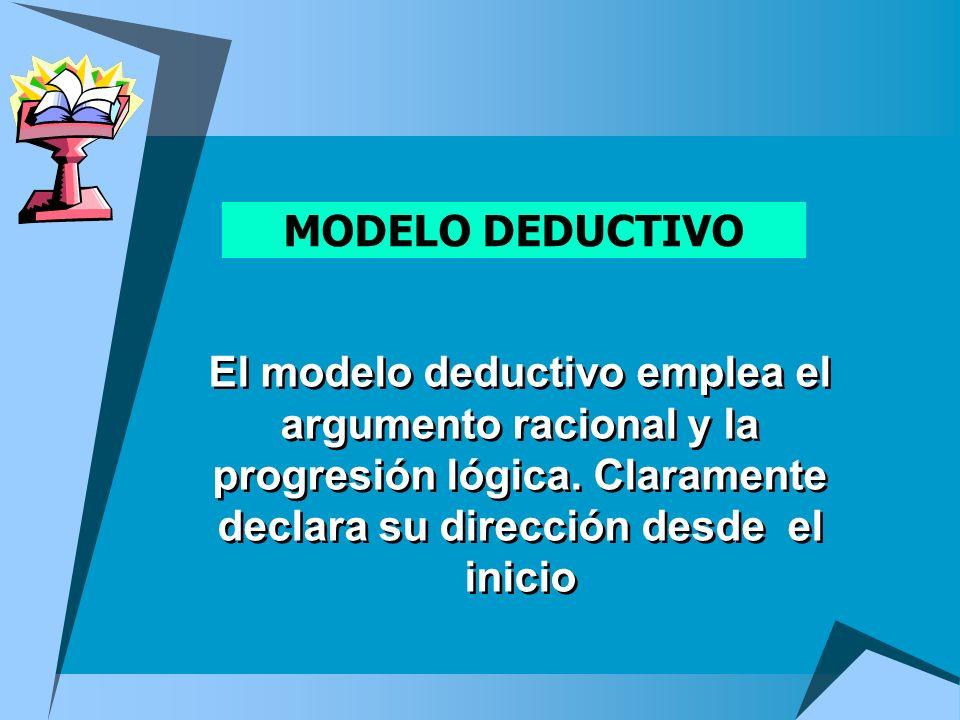 MODELO DEDUCTIVO El modelo deductivo emplea el argumento racional y la progresión lógica. Claramente declara su dirección desde el inicio