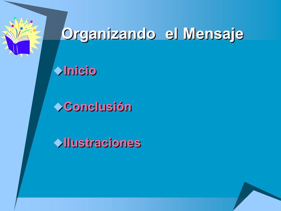 Organizando el Mensaje Inicio Conclusión Ilustraciones Inicio Conclusión Ilustraciones