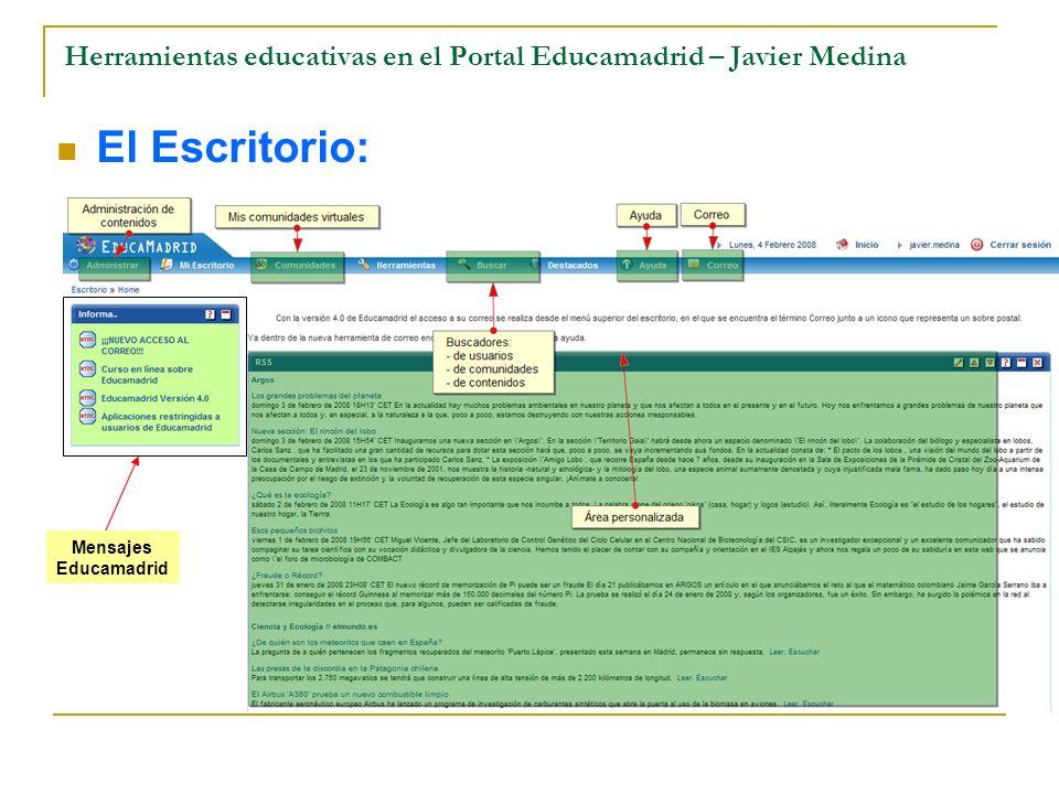 Herramientas educativas en el Portal Educamadrid – Javier Medina El Escritorio: Mensajes Educamadrid