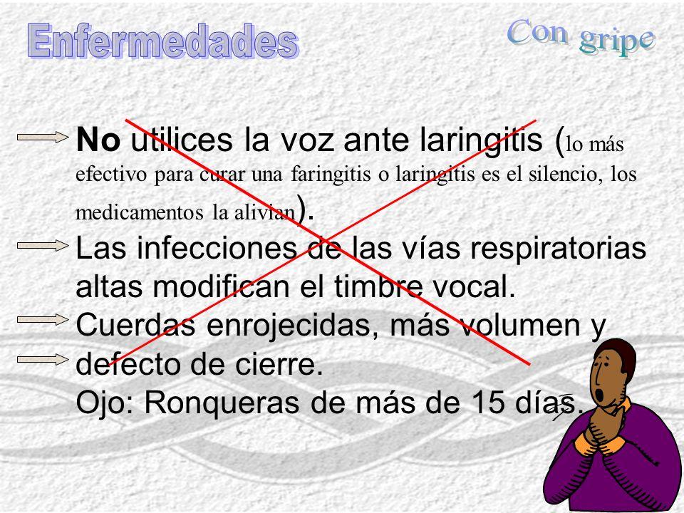 No utilices la voz ante laringitis ( lo más efectivo para curar una faringitis o laringitis es el silencio, los medicamentos la alivian ). Las infecci