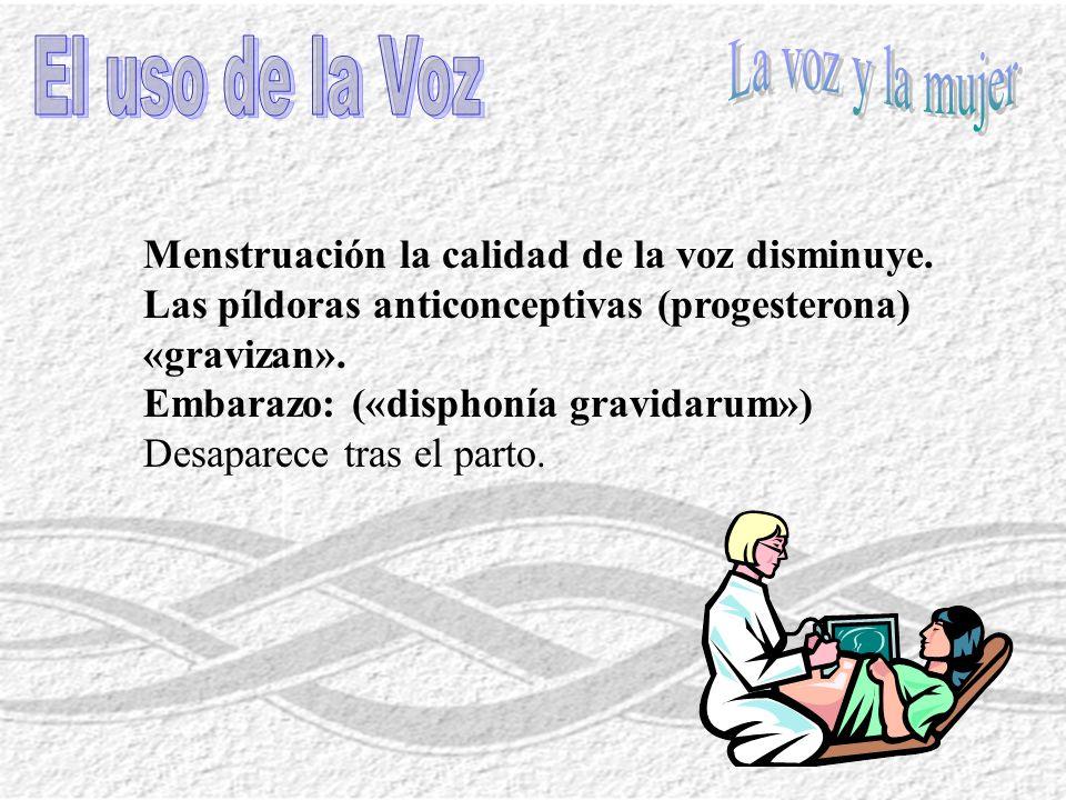 Menstruación la calidad de la voz disminuye. Las píldoras anticonceptivas (progesterona) «gravizan». Embarazo: («disphonía gravidarum») Desaparece tra