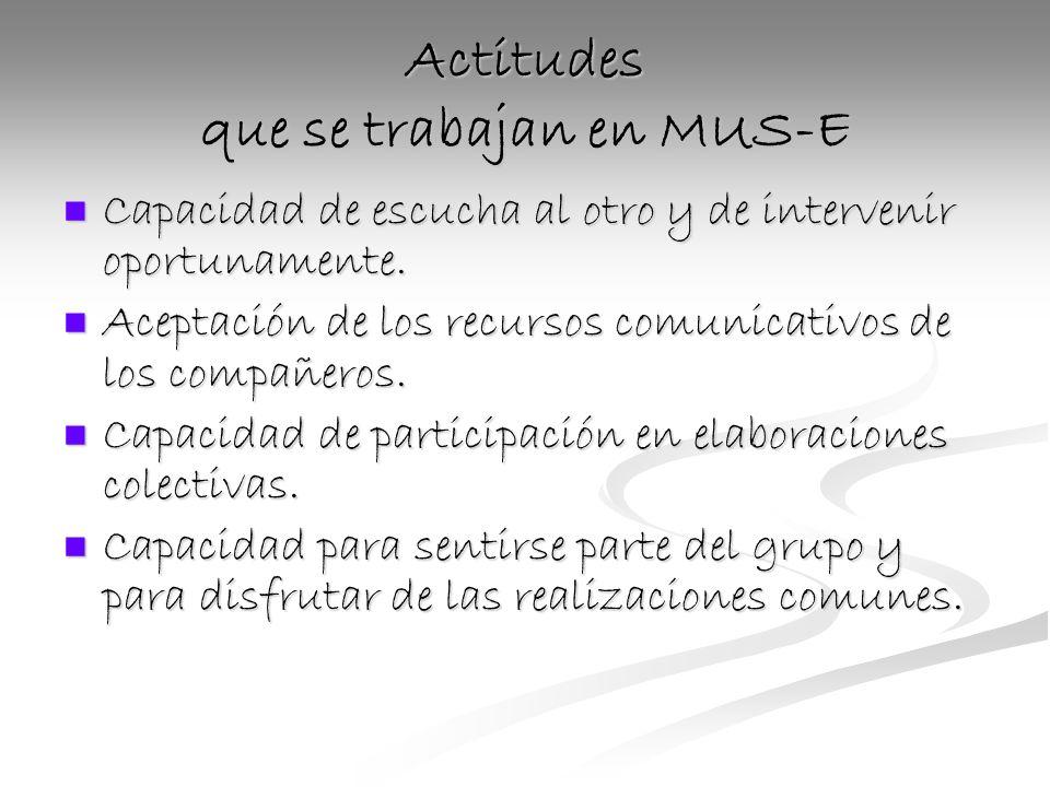 Actitudes que se trabajan en MUS-E Capacidad de escucha al otro y de intervenir oportunamente.