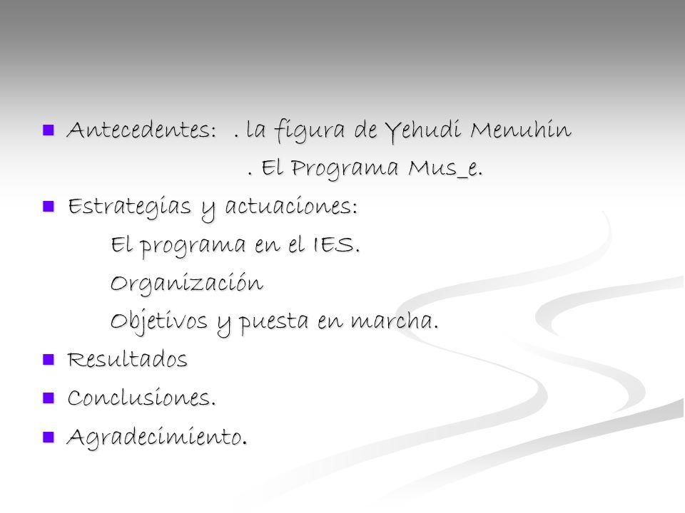 Antecedentes:. la figura de Yehudi Menuhin Antecedentes:.