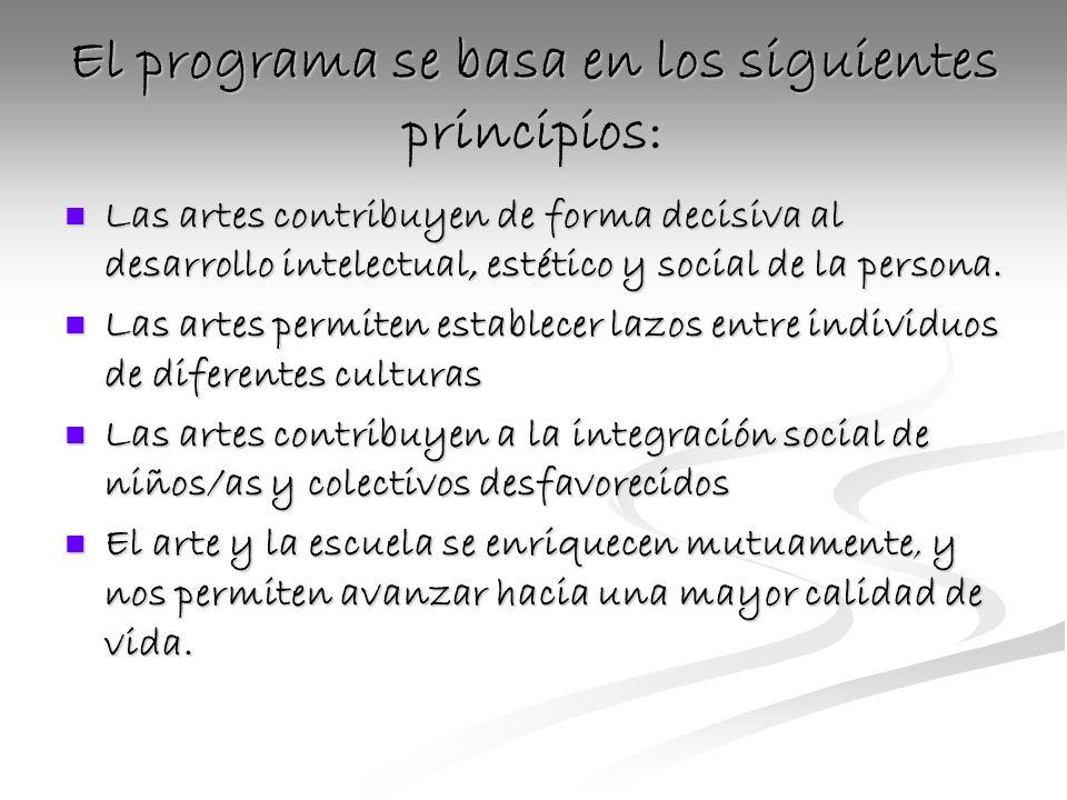 El programa se basa en los siguientes principios: Las artes contribuyen de forma decisiva al desarrollo intelectual, estético y social de la persona.