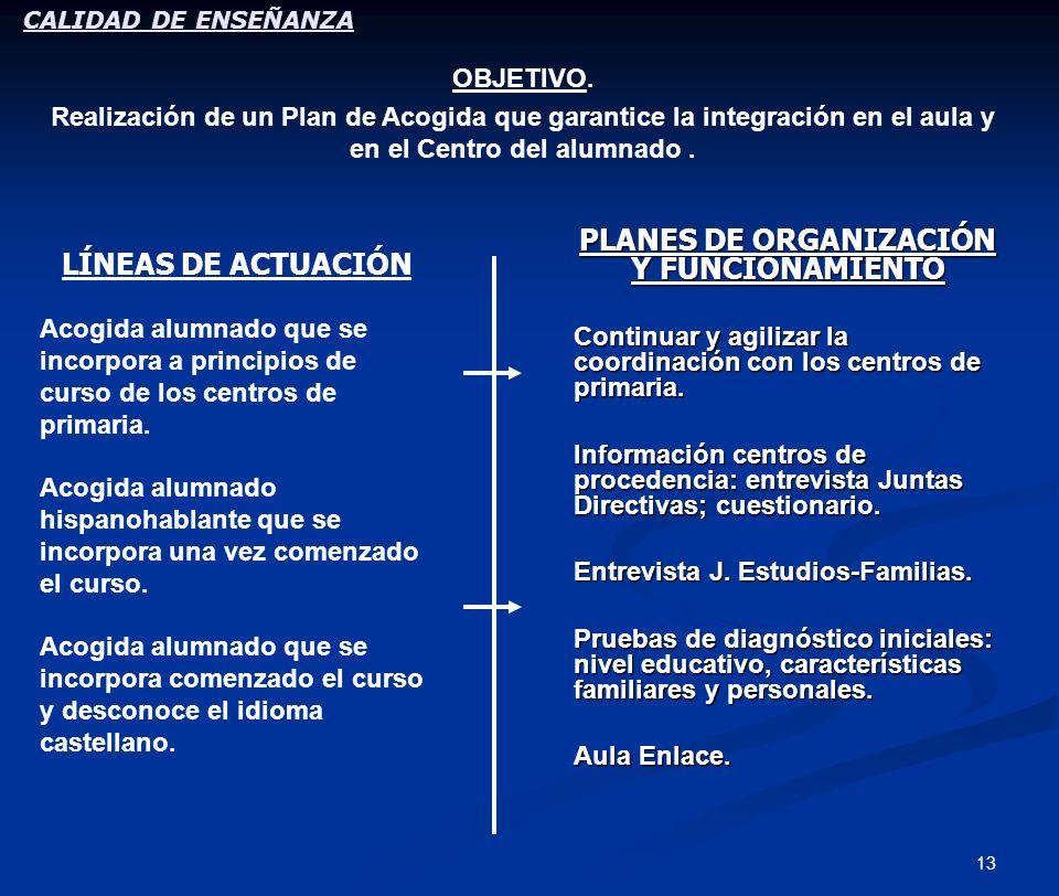 13 PLANES DE ORGANIZACIÓN Y FUNCIONAMIENTO Continuar y agilizar la coordinación con los centros de primaria. Información centros de procedencia: entre