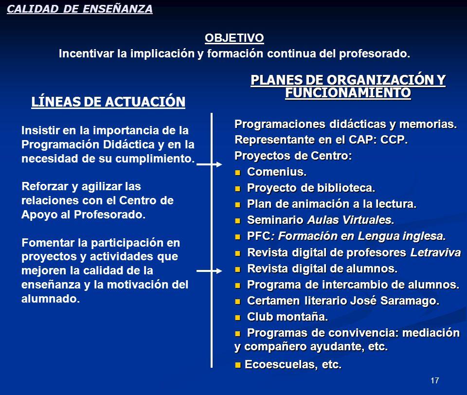 17 PLANES DE ORGANIZACIÓN Y FUNCIONAMIENTO Programaciones didácticas y memorias. Representante en el CAP: CCP. Proyectos de Centro: Comenius. Proyecto