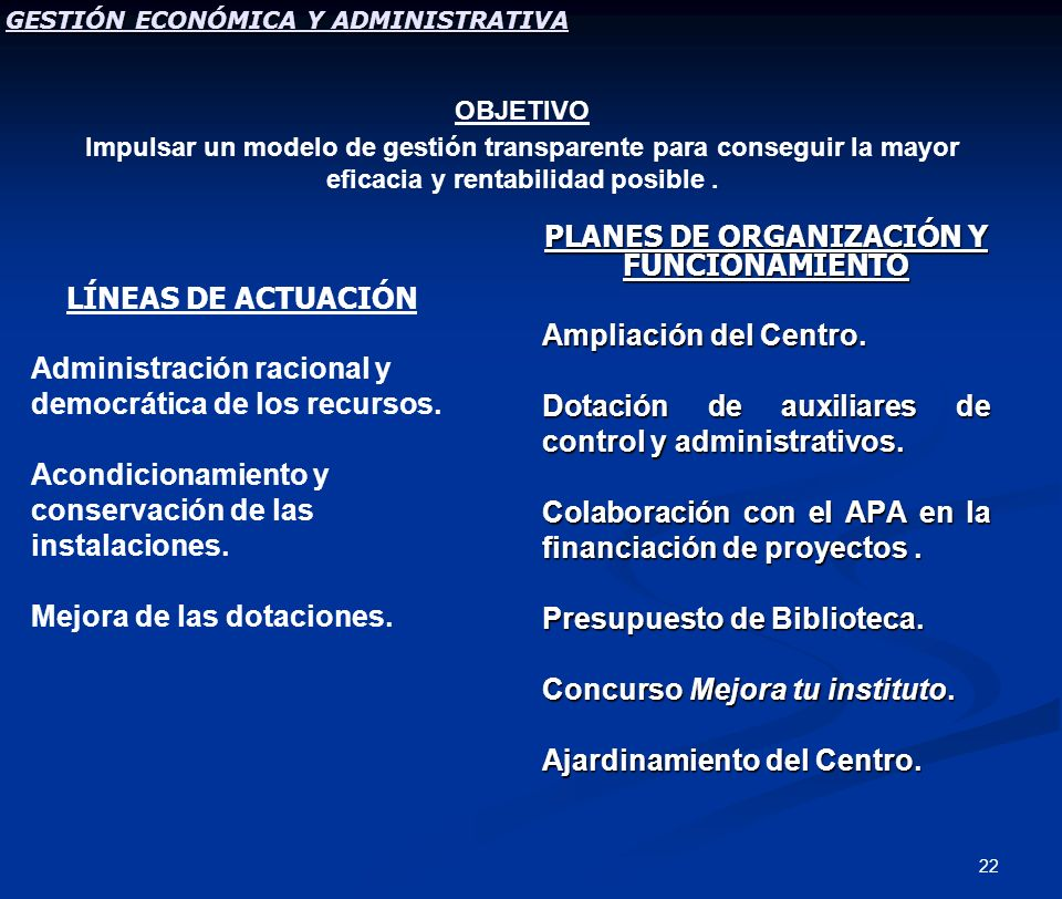 22 PLANES DE ORGANIZACIÓN Y FUNCIONAMIENTO Ampliación del Centro. Dotación de auxiliares de control y administrativos. Colaboración con el APA en la f
