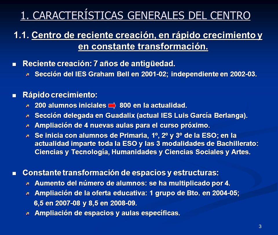 3 1. CARACTERÍSTICAS GENERALES DEL CENTRO 1.1. Centro de reciente creación, en rápido crecimiento y en constante transformación. Reciente creación: 7