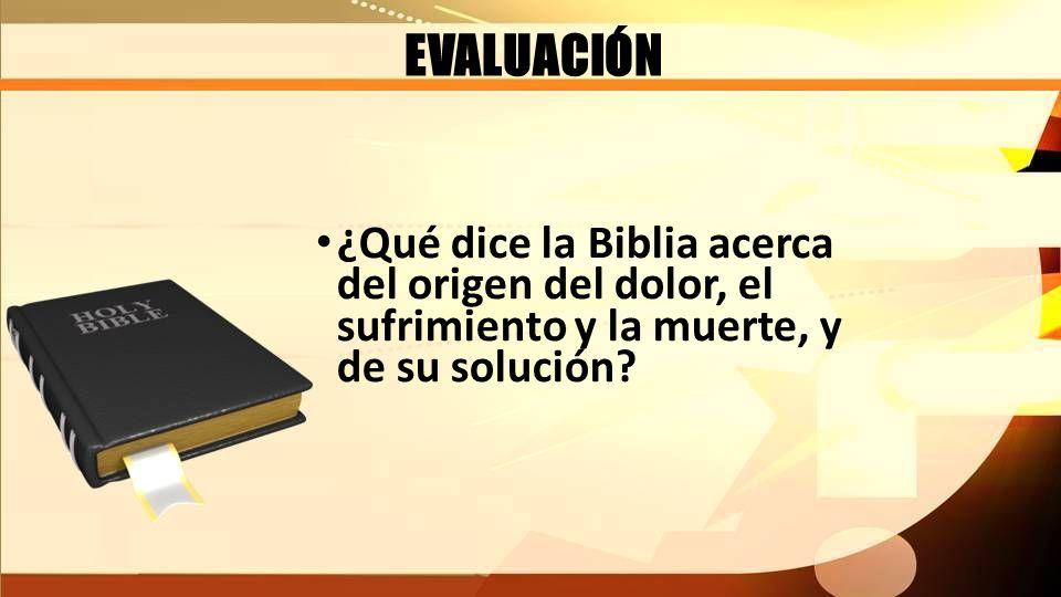 EVALUACIÓN ¿Qué dice la Biblia acerca del origen del dolor, el sufrimiento y la muerte, y de su solución?