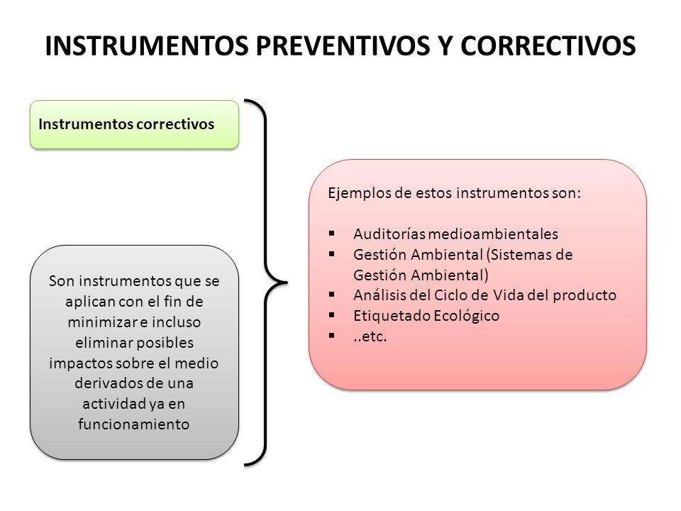 INSTRUMENTOS PREVENTIVOS Y CORRECTIVOS Instrumentos correctivos Son instrumentos que se aplican con el fin de minimizar e incluso eliminar posibles im