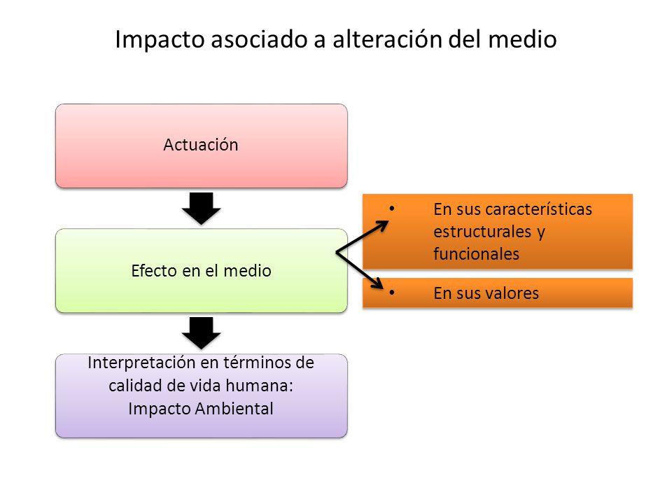 Impacto asociado a alteración del medio Actuación Efecto en el medio Interpretación en términos de calidad de vida humana: Impacto Ambiental En sus ca