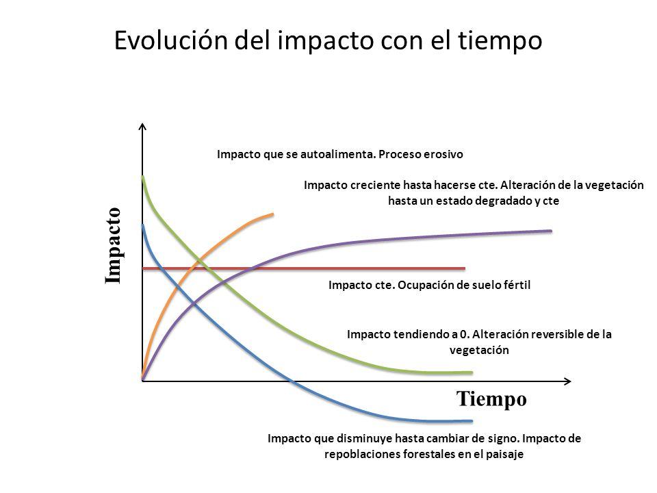 Evolución del impacto con el tiempo Tiempo Impacto Impacto que se autoalimenta. Proceso erosivo Impacto creciente hasta hacerse cte. Alteración de la