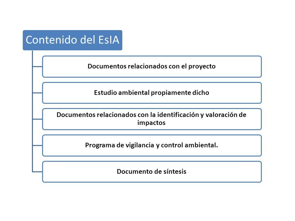 Contenido del EsIA Documentos relacionados con el proyectoEstudio ambiental propiamente dicho Documentos relacionados con la identificación y valoraci