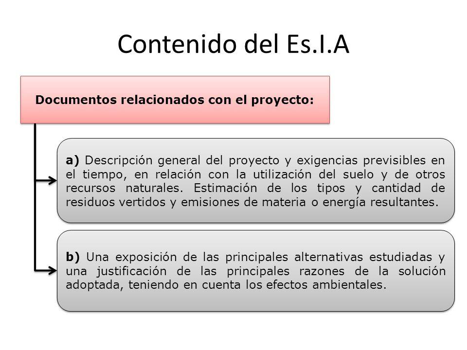 Contenido del Es.I.A Documentos relacionados con el proyecto: a) Descripción general del proyecto y exigencias previsibles en el tiempo, en relación c