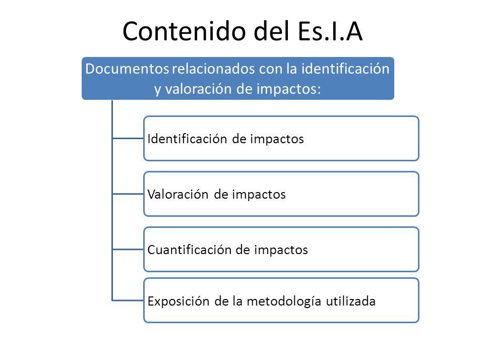 Contenido del Es.I.A Documentos relacionados con la identificación y valoración de impactos: Identificación de impactosValoración de impactosCuantific