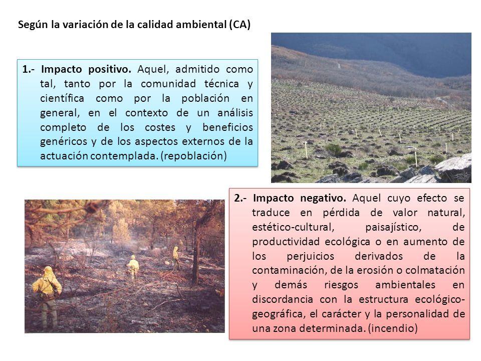 Según la variación de la calidad ambiental (CA) 2.- Impacto negativo. Aquel cuyo efecto se traduce en pérdida de valor natural, estético-cultural, pai