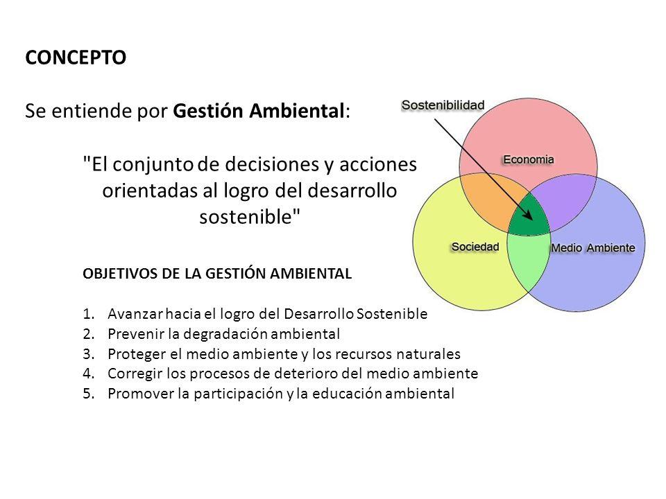 La gestión ambiental Las acciones sobre el medio tienen consecuencias evaluables En función de las consecuencias se intenta llegar a una gestión racional y sostenible.