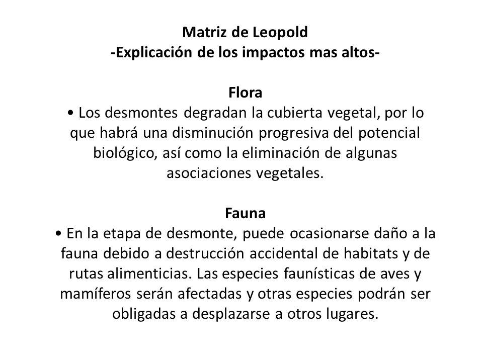 Matriz de Leopold -Explicación de los impactos mas altos- Flora Los desmontes degradan la cubierta vegetal, por lo que habrá una disminución progresiv