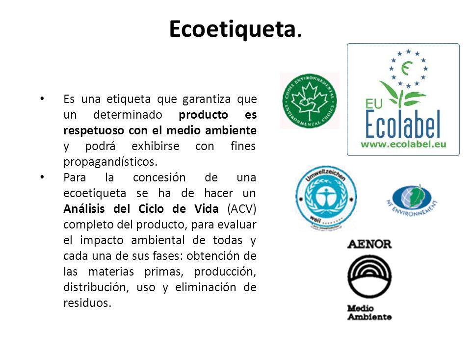 Ecoetiqueta. Es una etiqueta que garantiza que un determinado producto es respetuoso con el medio ambiente y podrá exhibirse con fines propagandístico