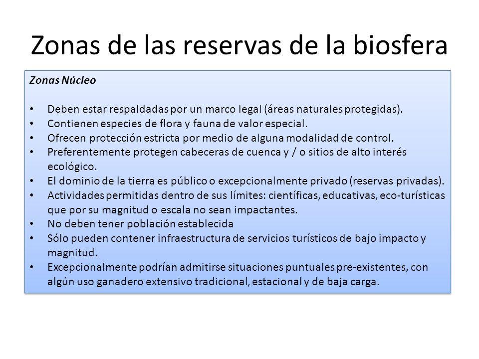 Zonas de las reservas de la biosfera Zonas Núcleo Deben estar respaldadas por un marco legal (áreas naturales protegidas). Contienen especies de flora