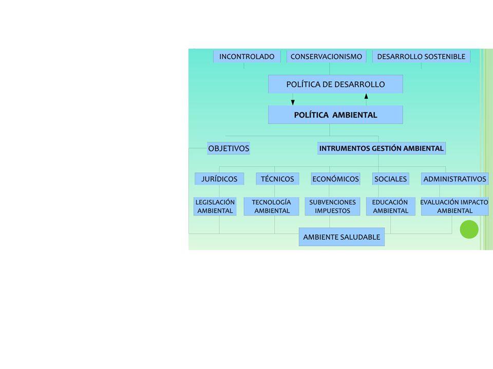 POLÍTICA DE DESARROLLOPOLÍTICA AMBIENTAL OBJETIVOSINSTRUMENTOS DE GESTIÓN AMBIENTAL Jurídicos Legislación ambiental Técnicos Tecnología ambiental Económicos Subvenciones Sociales Educación ambiental Administrativos Evaluación de Impacto ambiental AMBIENTE SALUDABLE DESARROLLO SOSTENIBLE