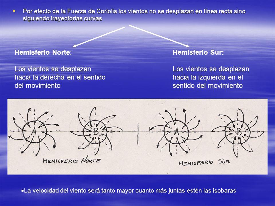 Por efecto de la Fuerza de Coriolis los vientos no se desplazan en línea recta sino siguiendo trayectorias curvas Por efecto de la Fuerza de Coriolis