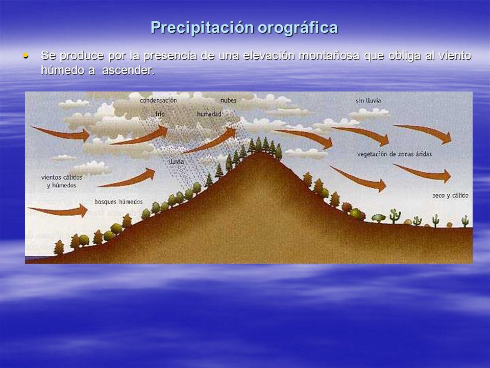 Precipitación orográfica Se produce por la presencia de una elevación montañosa que obliga al viento húmedo a ascender. Se produce por la presencia de