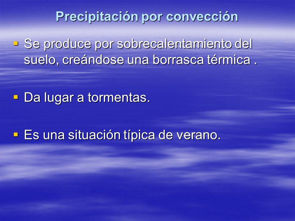 Precipitación por convección Se produce por sobrecalentamiento del suelo, creándose una borrasca térmica. Se produce por sobrecalentamiento del suelo,