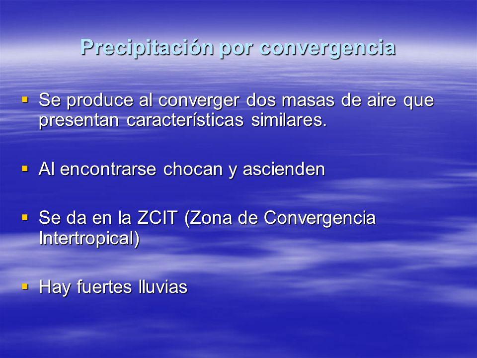 Precipitación por convergencia Se produce al converger dos masas de aire que presentan características similares. Se produce al converger dos masas de