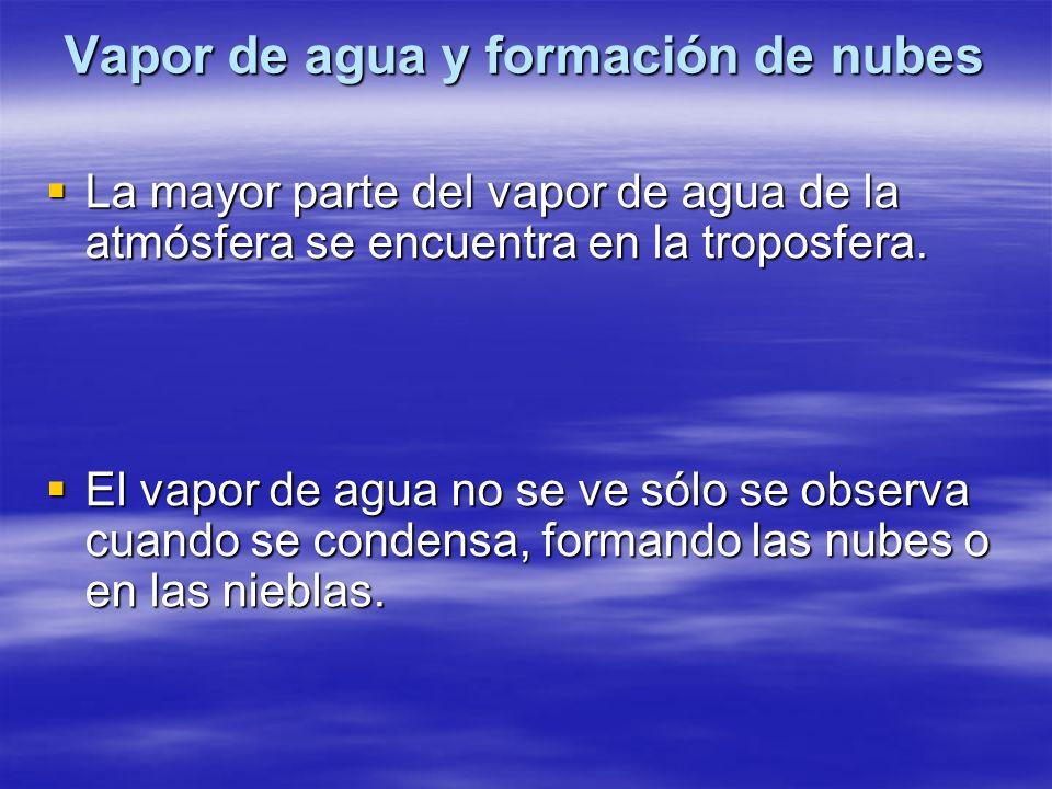 Vapor de agua y formación de nubes La mayor parte del vapor de agua de la atmósfera se encuentra en la troposfera. La mayor parte del vapor de agua de