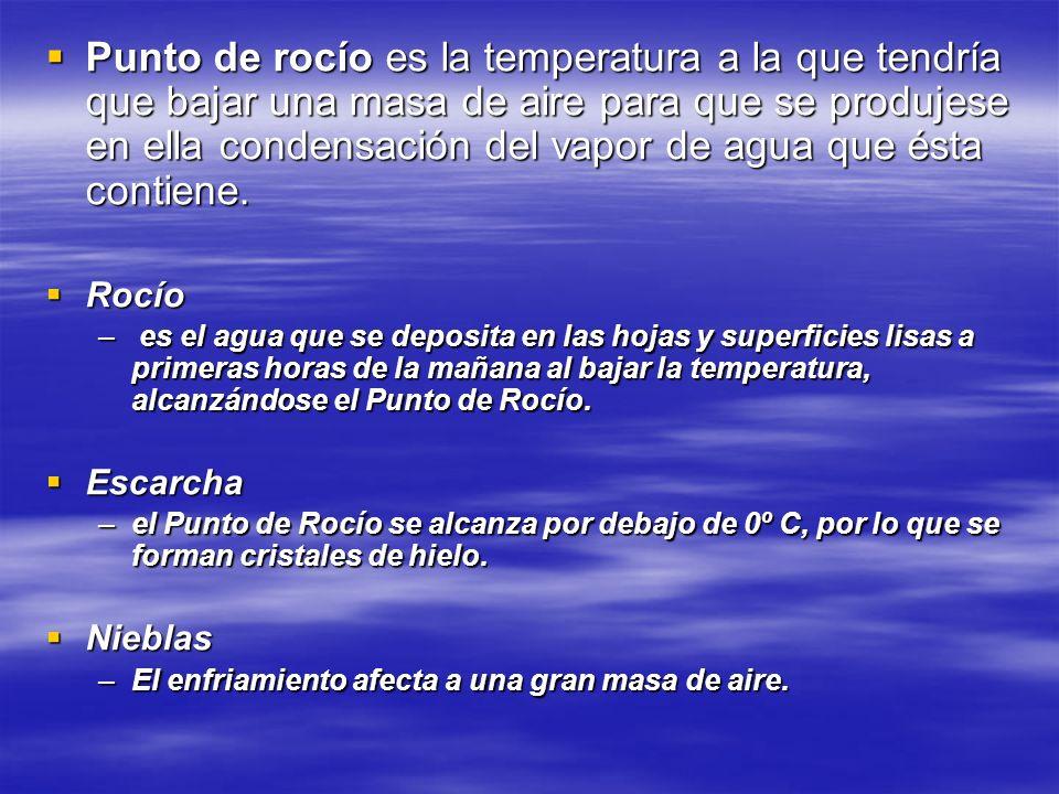 Punto de rocío es la temperatura a la que tendría que bajar una masa de aire para que se produjese en ella condensación del vapor de agua que ésta con