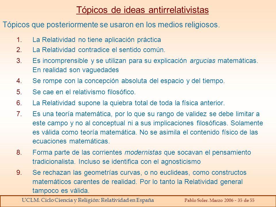 UCLM. Ciclo Ciencia y Religión: Relatividad en España Pablo Soler. Marzo 2006 - 35 de 55 Tópicos de ideas antirrelativistas Tópicos que posteriormente