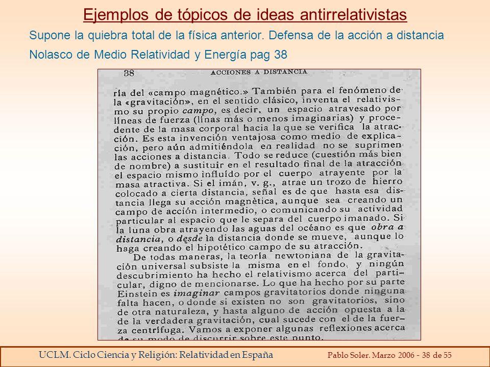 UCLM. Ciclo Ciencia y Religión: Relatividad en España Pablo Soler. Marzo 2006 - 38 de 55 Ejemplos de tópicos de ideas antirrelativistas Supone la quie