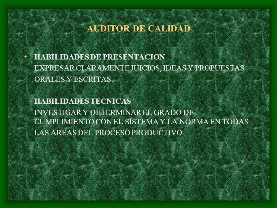 AUDITOR DE CALIDAD HABILIDADES DE PRESENTACION EXPRESAR CLARAMENTE JUICIOS, IDEAS Y PROPUESTAS ORALES Y ESCRITAS. HABILIDADES TECNICAS INVESTIGAR Y DE