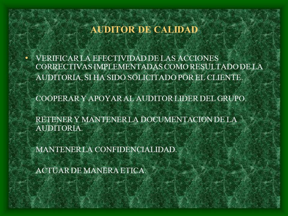 AUDITOR DE CALIDAD RESPONSABILIDADES DEL AUDITOR LIDER CONSEGUIR TODA LA INFORMACION RELEVANTE PARA PREPARAR LA AUDITORIA.