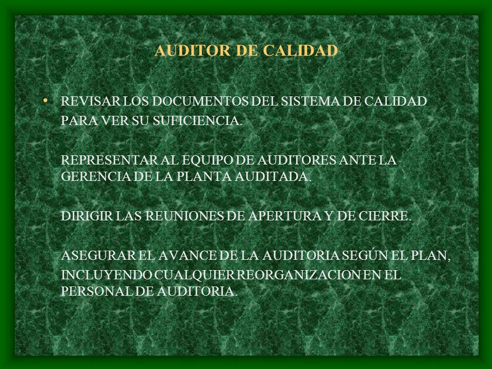 AUDITOR DE CALIDAD REVISAR LOS DOCUMENTOS DEL SISTEMA DE CALIDAD PARA VER SU SUFICIENCIA. REPRESENTAR AL EQUIPO DE AUDITORES ANTE LA GERENCIA DE LA PL