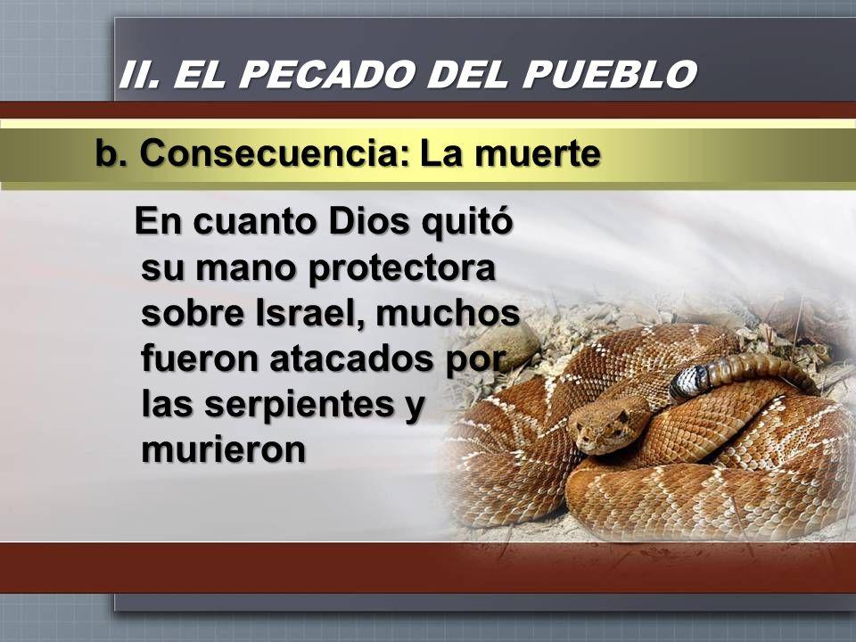 II. EL PECADO DEL PUEBLO En cuanto Dios quitó su mano protectora sobre Israel, muchos fueron atacados por las serpientes y murieron b. Consecuencia: L