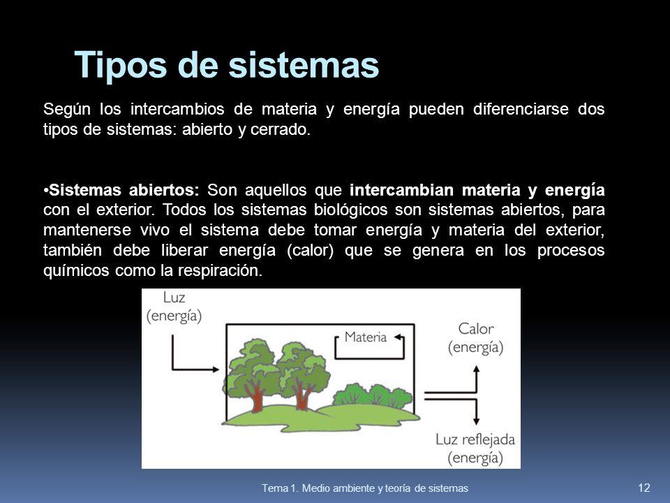 Tipos de sistemas Según los intercambios de materia y energía pueden diferenciarse dos tipos de sistemas: abierto y cerrado. Sistemas abiertos: Son aq