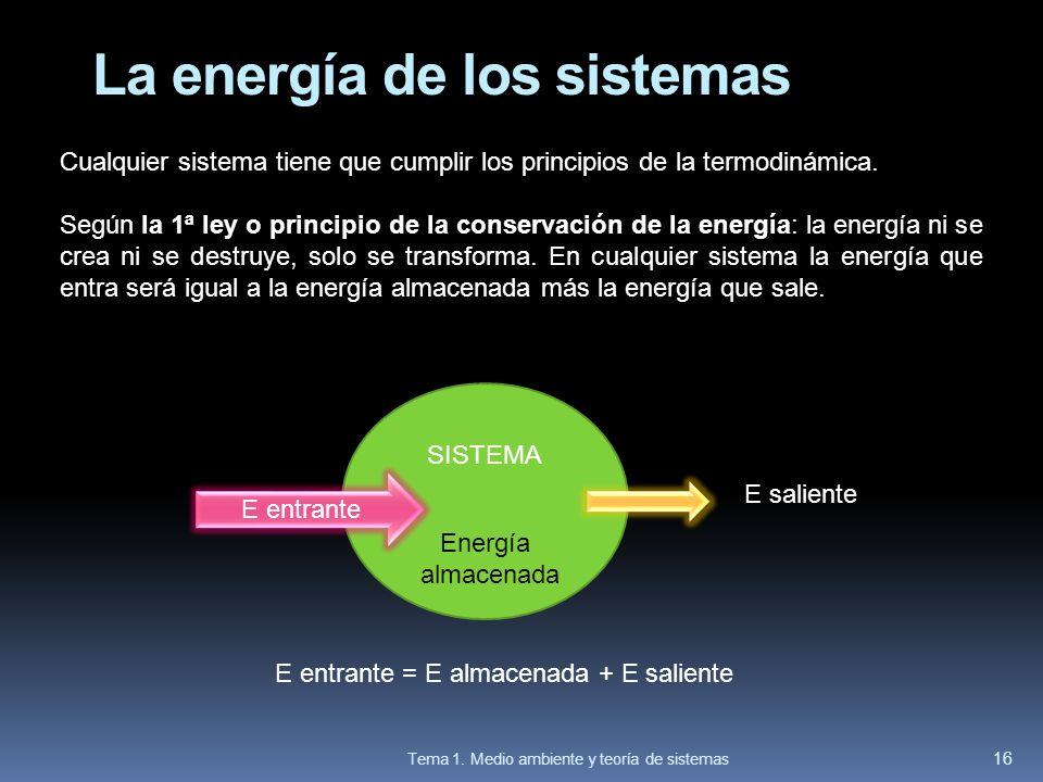 La energía de los sistemas Cualquier sistema tiene que cumplir los principios de la termodinámica. Según la 1ª ley o principio de la conservación de l