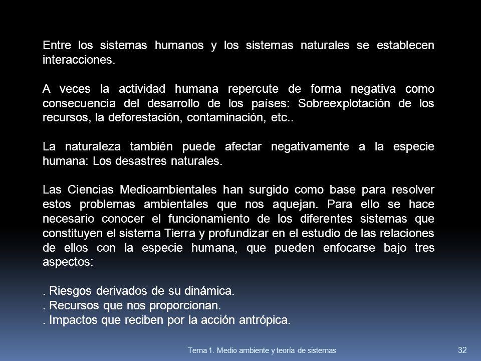 Entre los sistemas humanos y los sistemas naturales se establecen interacciones. A veces la actividad humana repercute de forma negativa como consecue