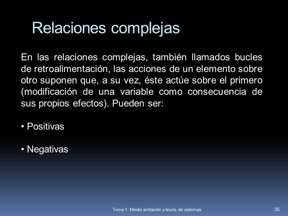 En las relaciones complejas, también llamados bucles de retroalimentación, las acciones de un elemento sobre otro suponen que, a su vez, éste actúe so