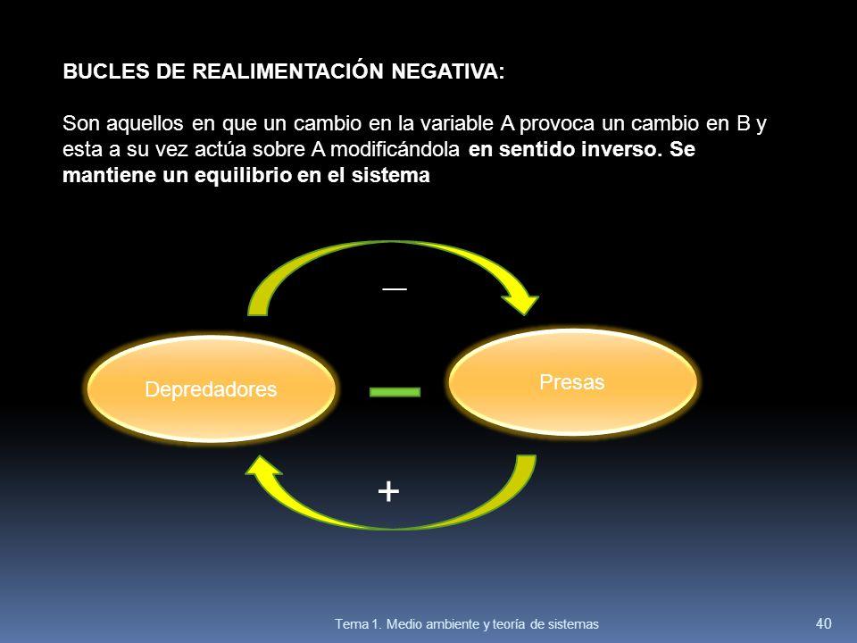 BUCLES DE REALIMENTACIÓN NEGATIVA: Son aquellos en que un cambio en la variable A provoca un cambio en B y esta a su vez actúa sobre A modificándola e
