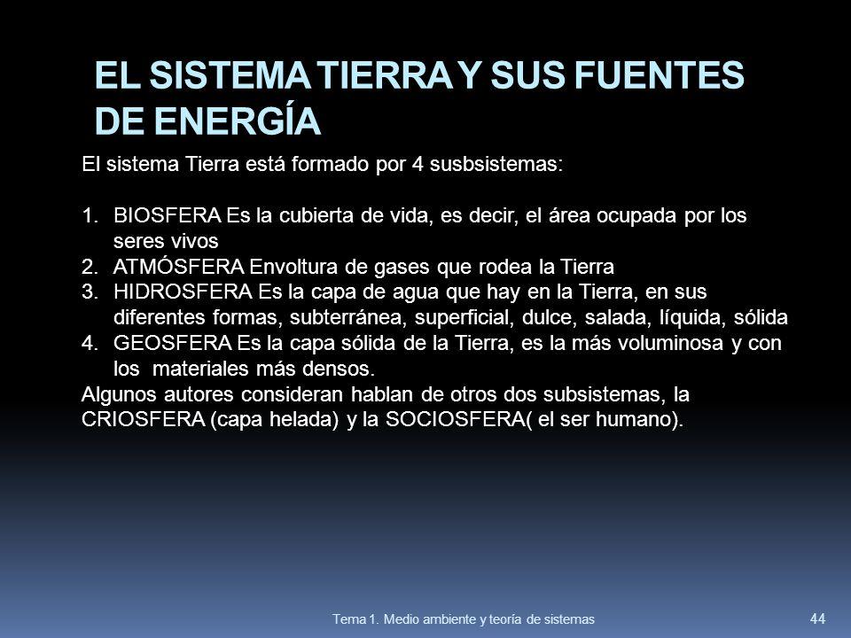 EL SISTEMA TIERRA Y SUS FUENTES DE ENERGÍA El sistema Tierra está formado por 4 susbsistemas: 1.BIOSFERA Es la cubierta de vida, es decir, el área ocu